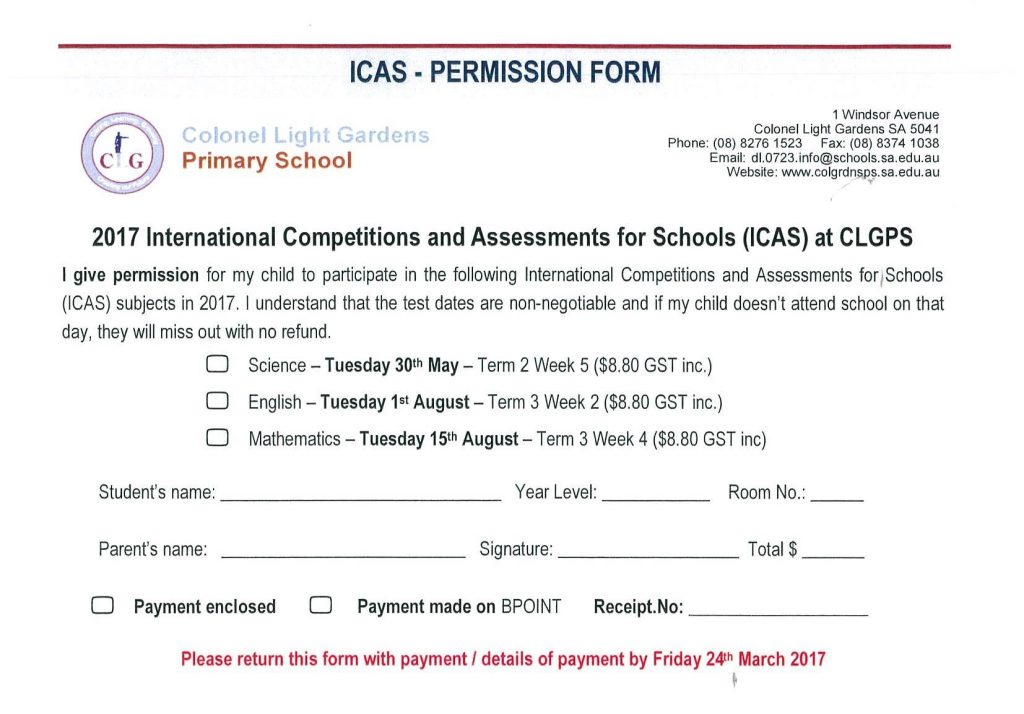 ICAS INFORMATION & CONSENT FORM | Newsletters